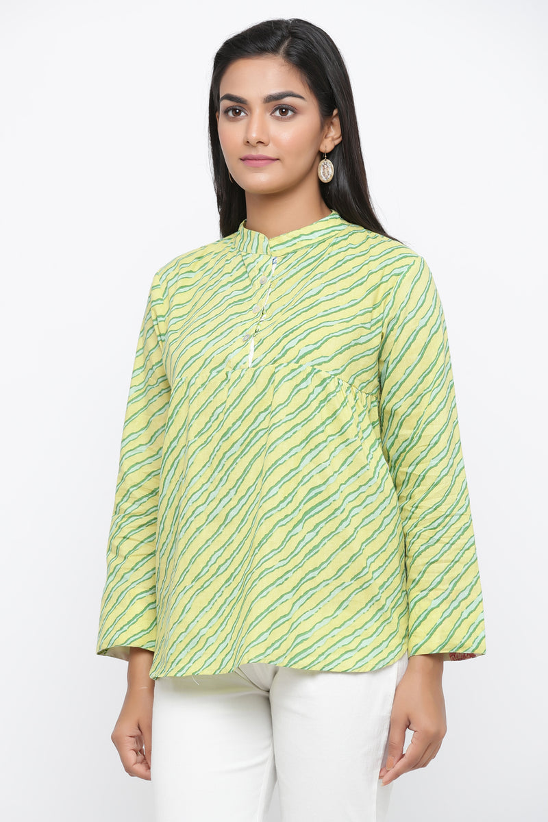 GREEN COLOUR LEHARIYA PRINTED COTTON TUNIC