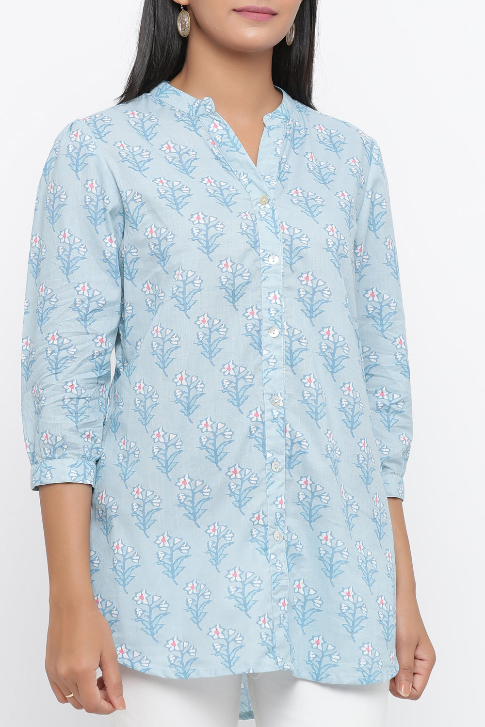 BLUE COLOUR FLORAL PRINTED COTTON TUNIC