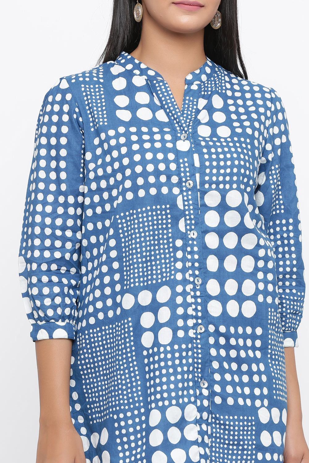 100% COTTON TUNIC IN BLUE COLOUR