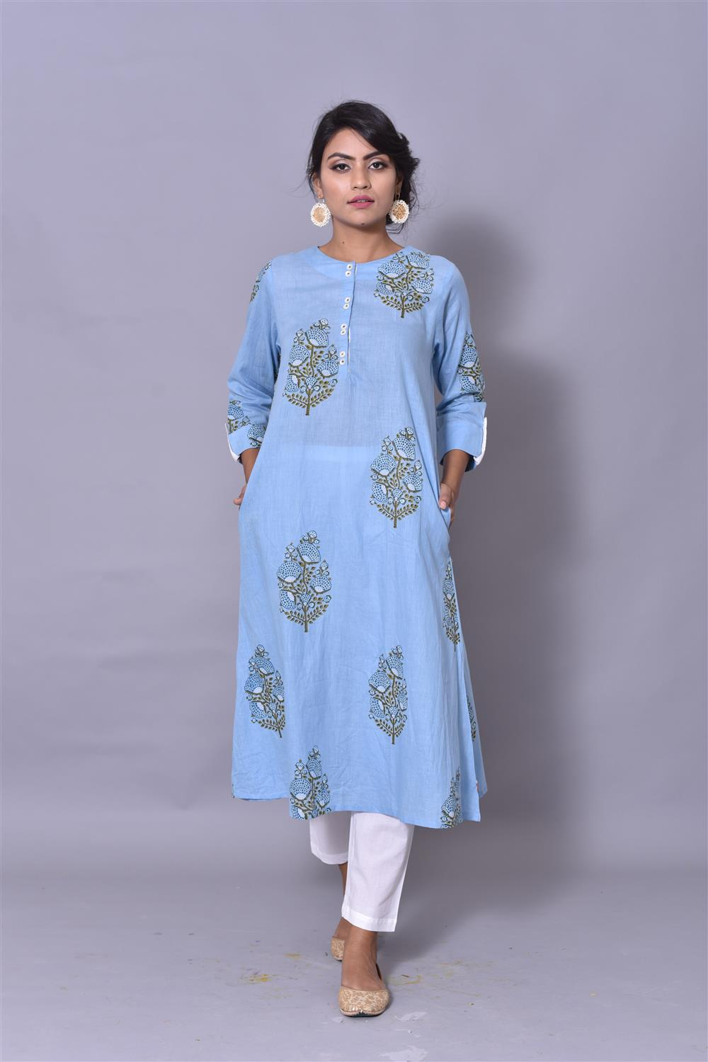 POWDER BLUE A-LINE KURTA
