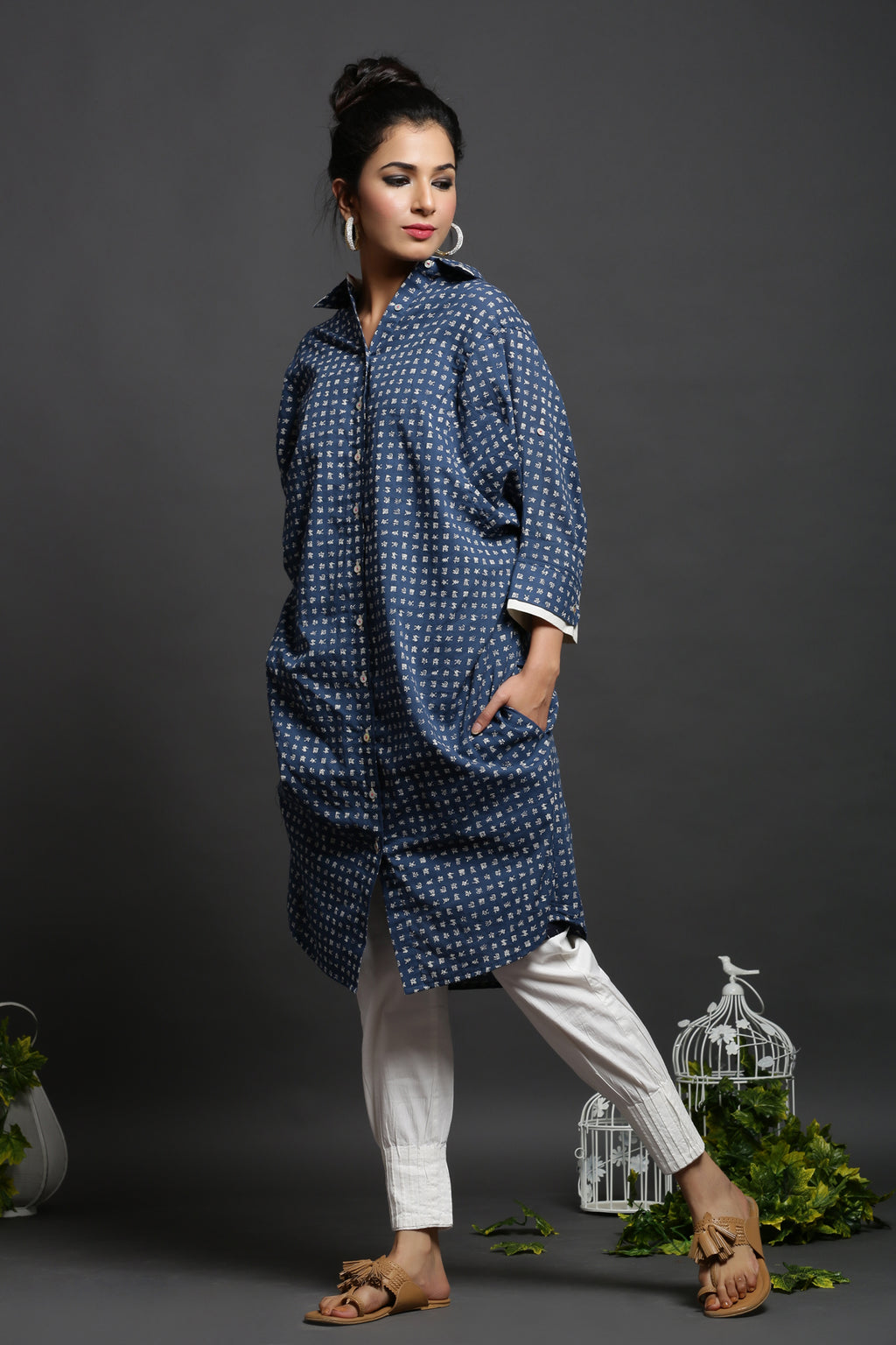 URBANITE BLUE COTTON FREE SIZE LONG SHIRT_MAYORI