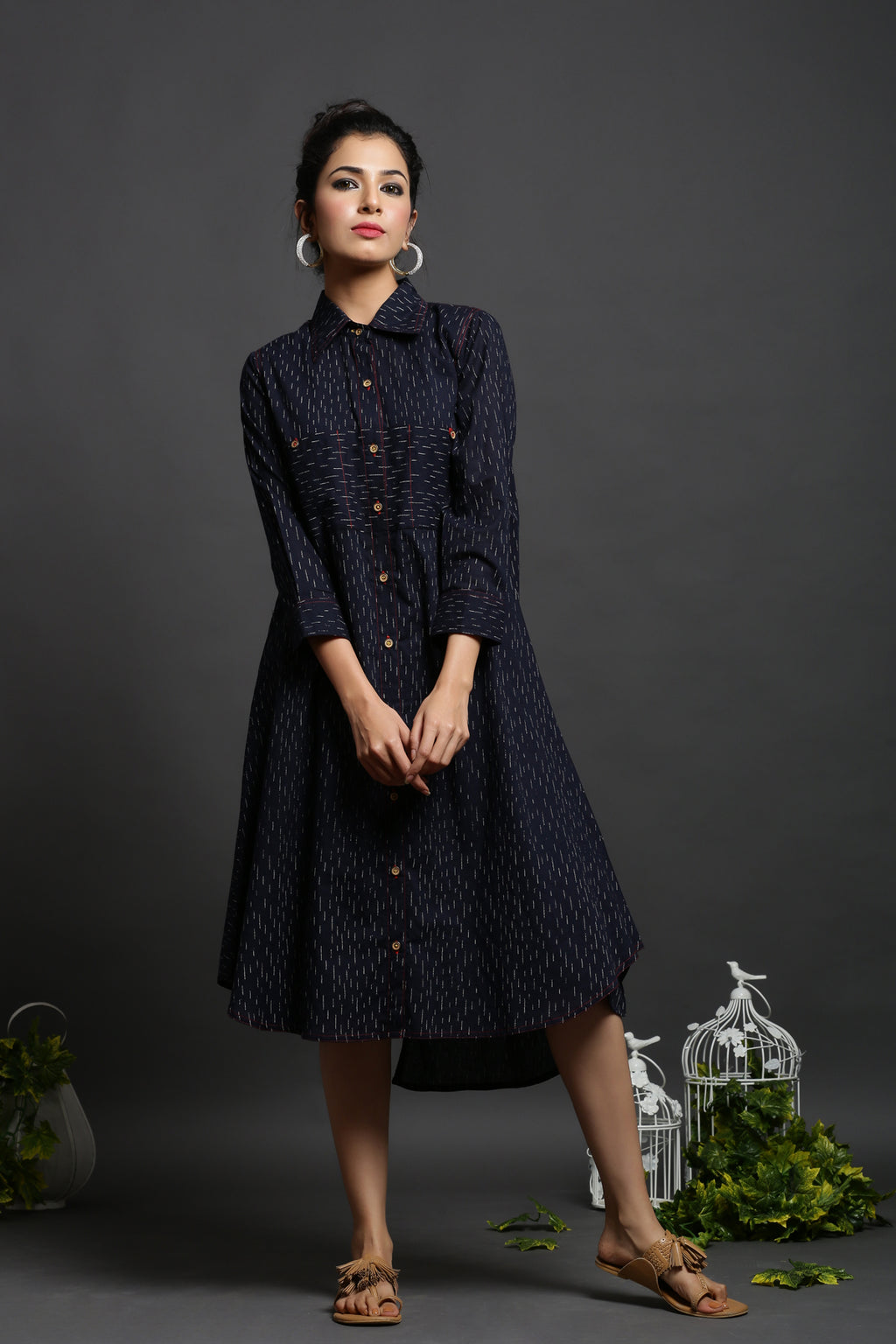 URBANITE BLUE COTTON PRINTED SHIRT DRESS_MAYORI