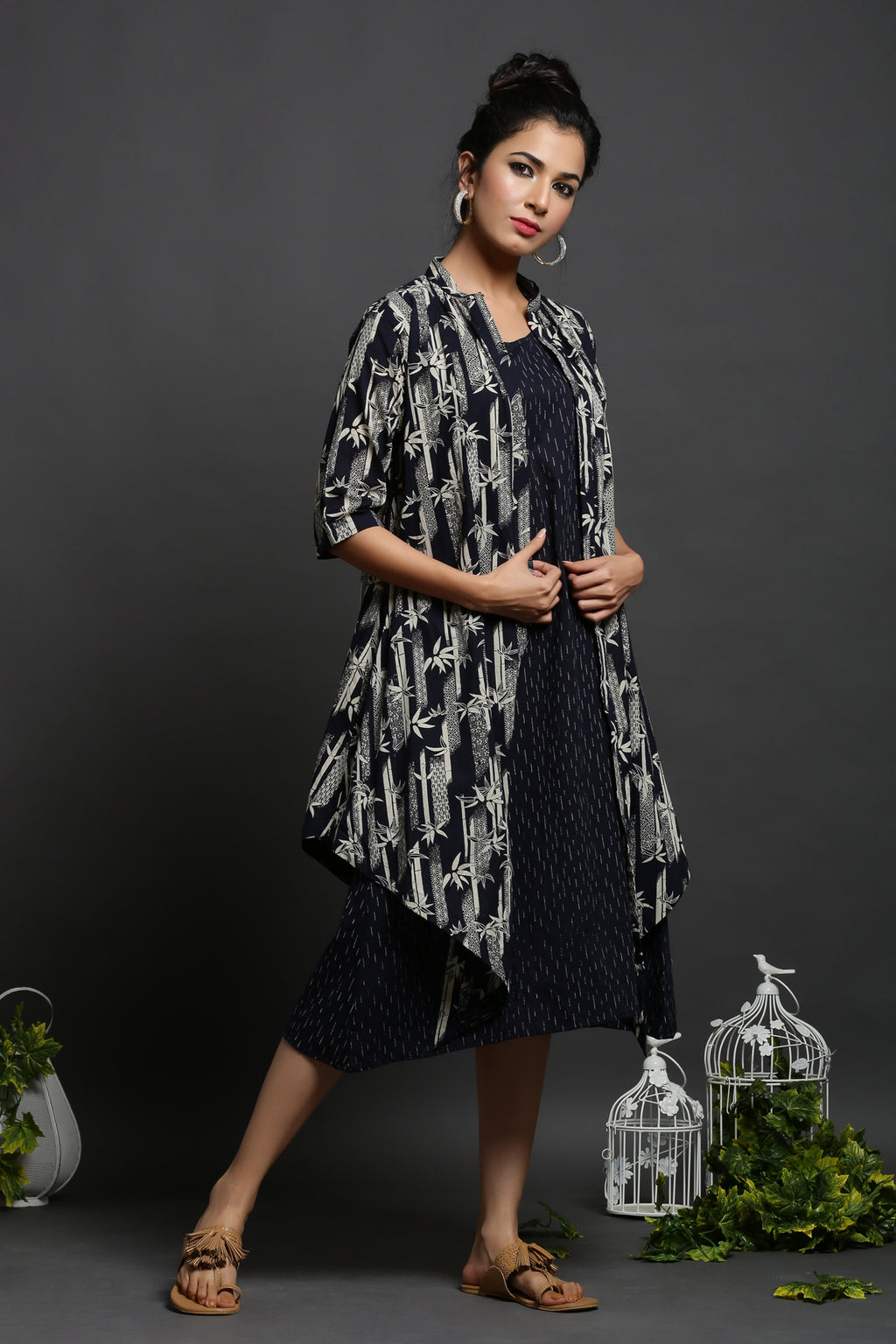 URBANITE DOUBLE LAYERED BLUE COTTON PRINTED DRESS_MAYORI