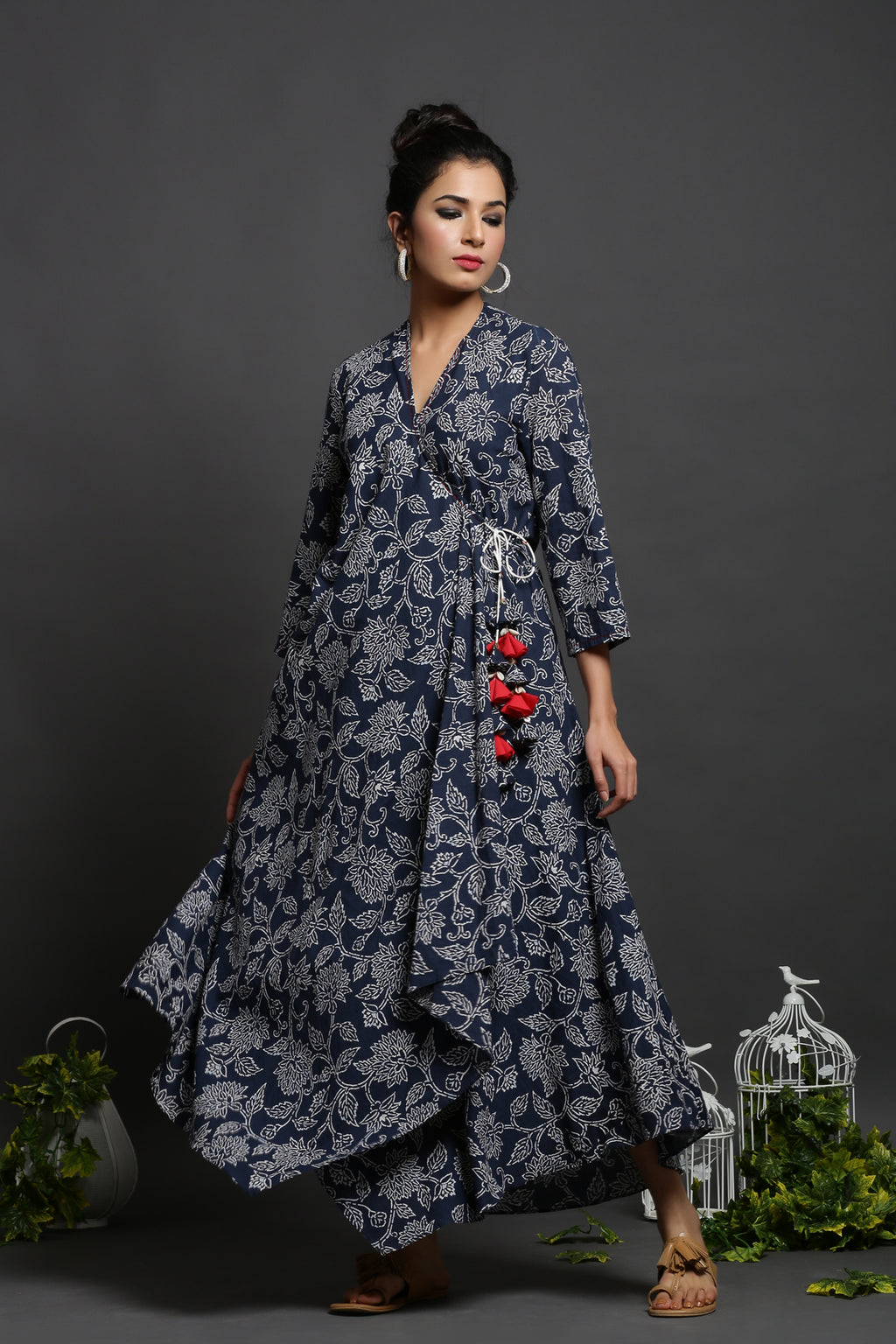 URBANITE WRAP AROUND BLUE COTTON FLORAL PRINTED DRESS_MAYORI