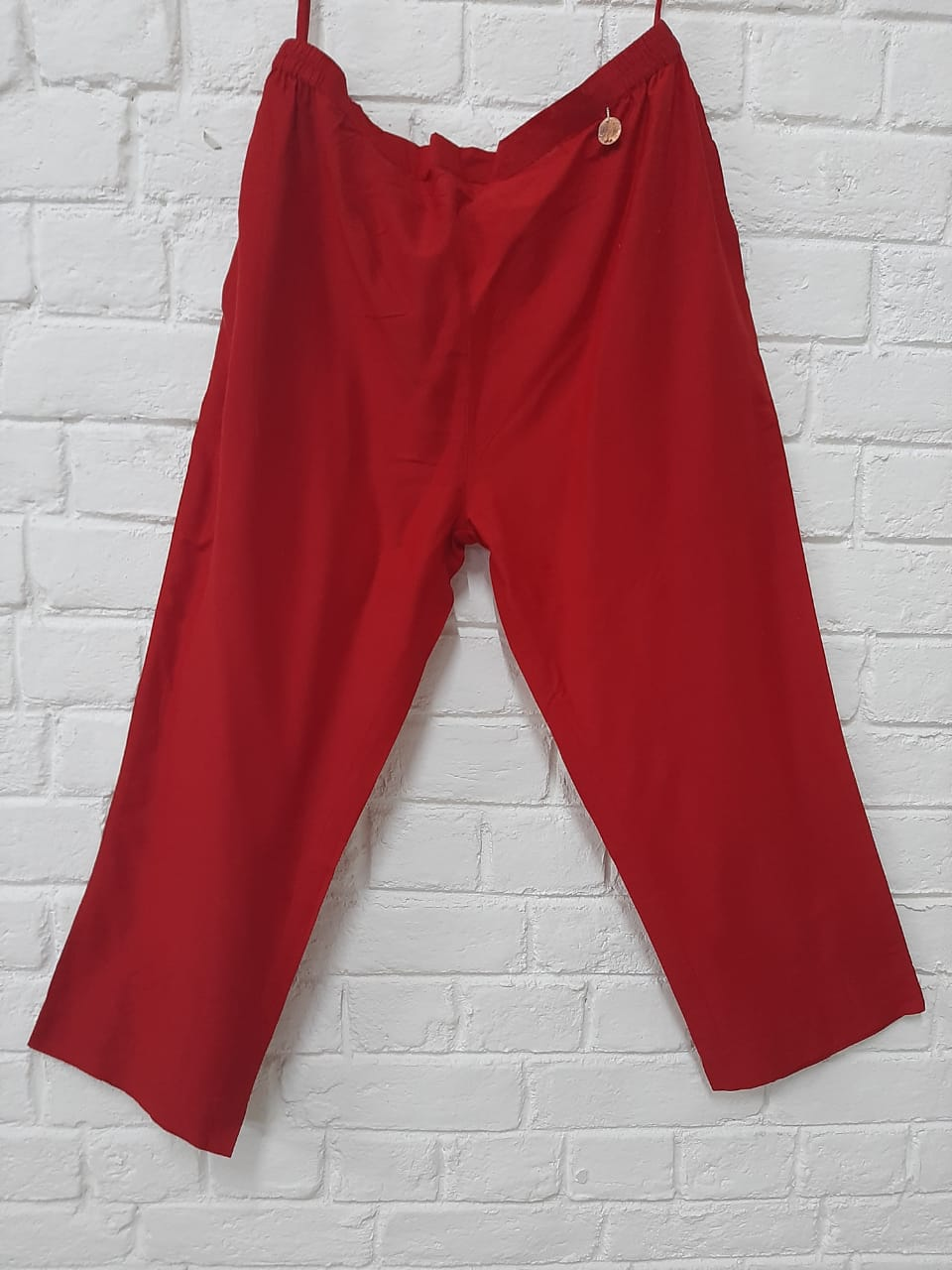 RED COTTON SILK PANT