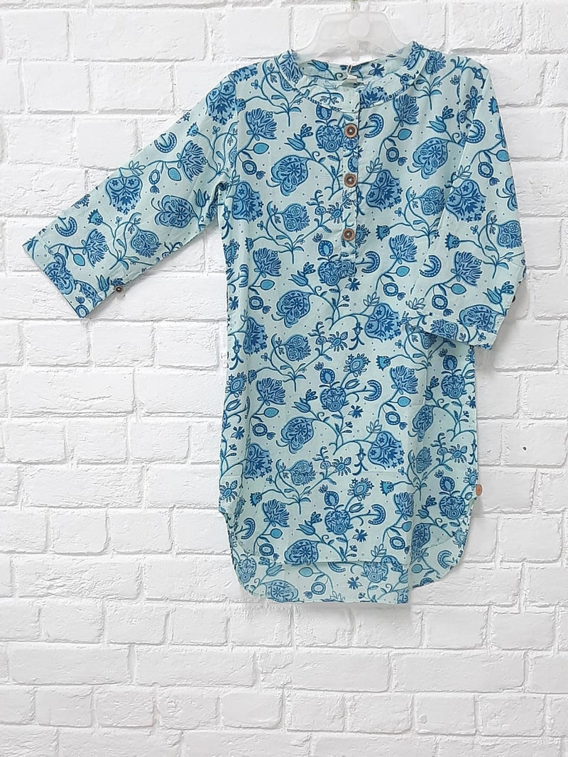 BLUE PRINTED SHORT KURTA