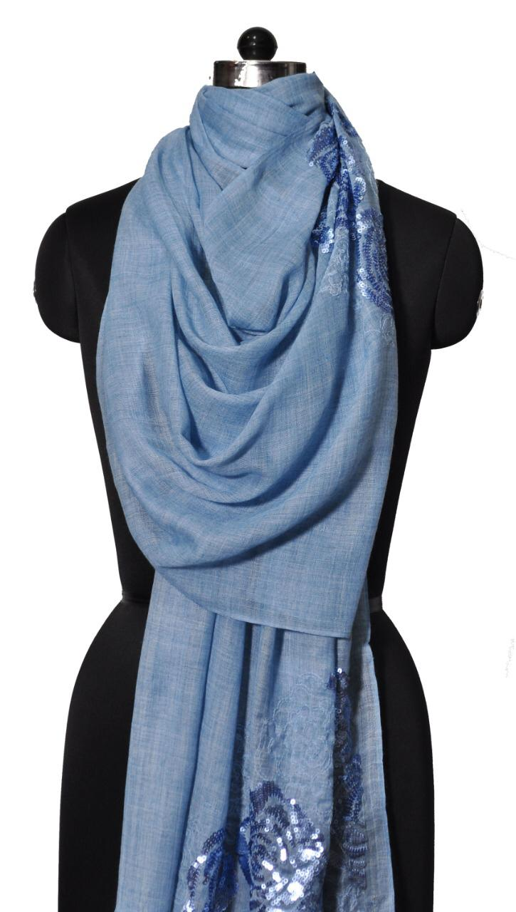 BLUE ROSE EMBROIDERY AND SEQUENCE STOLE