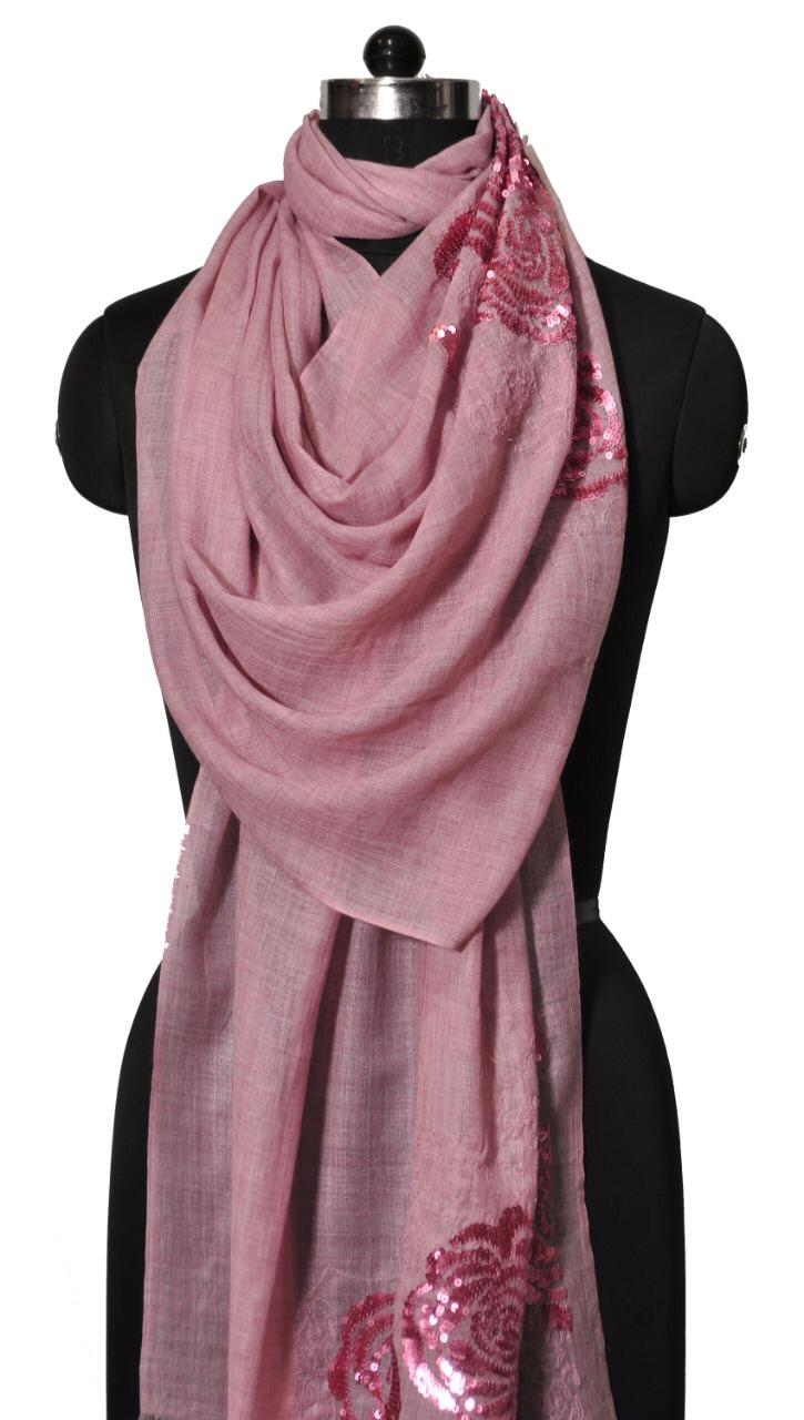 PINK ROSE EMBROIDERY AND SEQUENCE STOLE