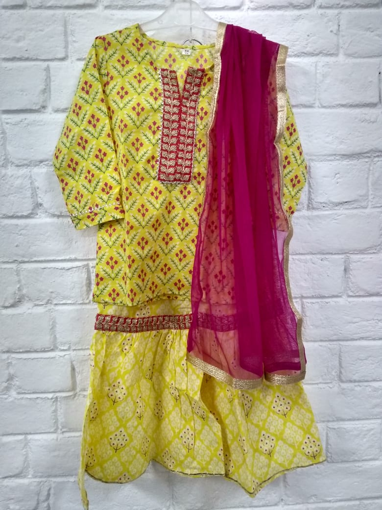KIDS YELLOW KURTA WITH ANGRAKHA & DUPATTA