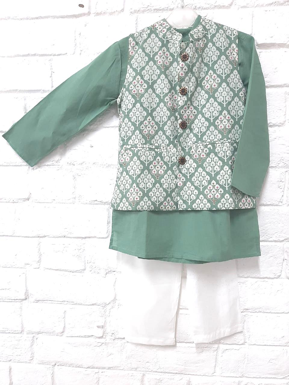 PRINTED JACKET WITH KURTA PYAJAMA