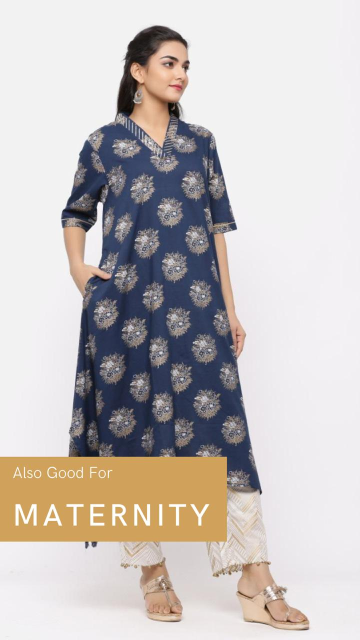 GOLD PRINT COTTON ASYMMETRICAL KURTA