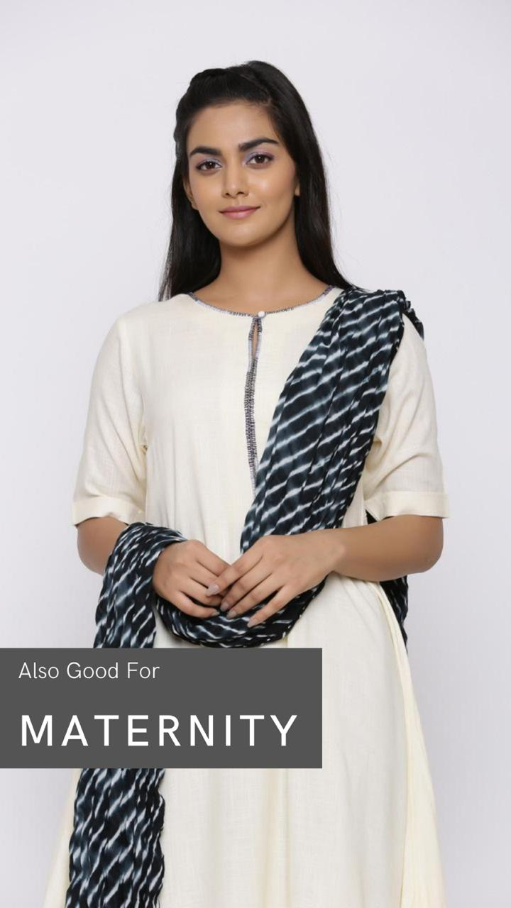WHITE COTTON ASYMMETRICAL KURTA