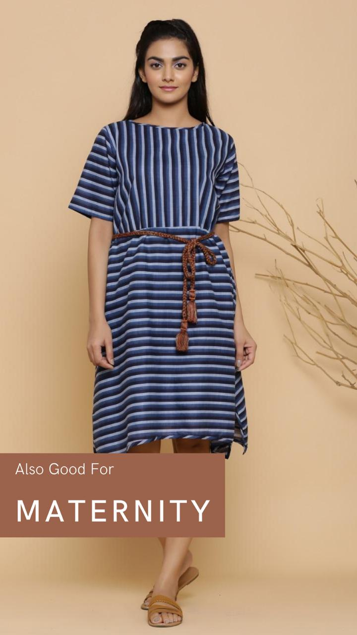 BLUE ASYMMETRICAL COTTON SHORT DRESS