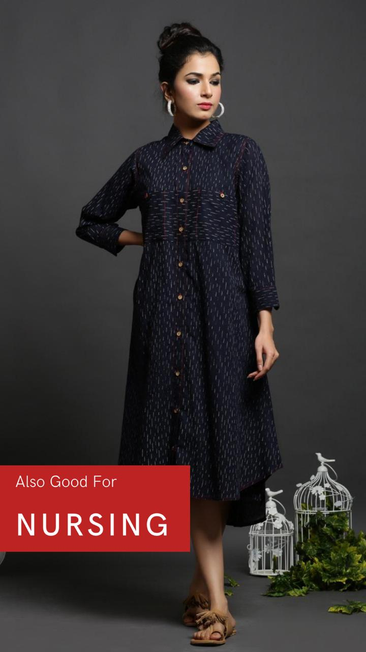 BLUE COTTON PRINTED SHIRT DRESS