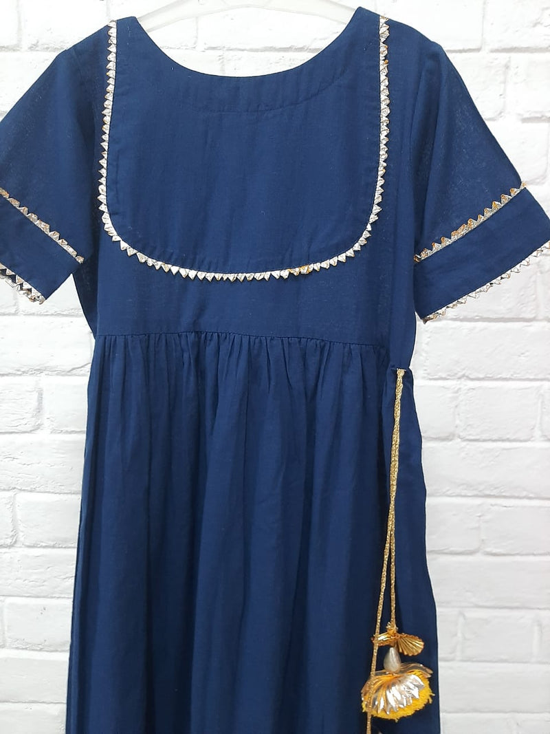 BLUE COLOUR KIDS DRESS WITH LACE DETAILING
