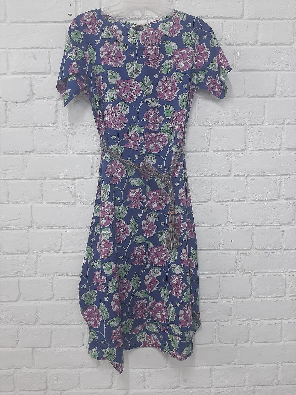 FLORAL PRINTED COTTON ASYMMETRICAL DRESS