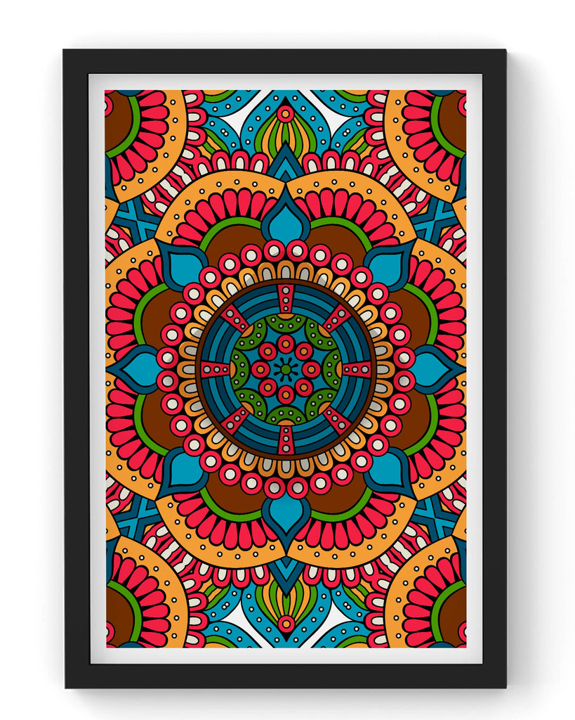 Seamless red pattern with mandala
