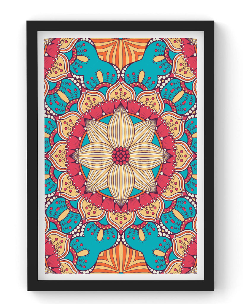 Seamless blue pattern with mandala