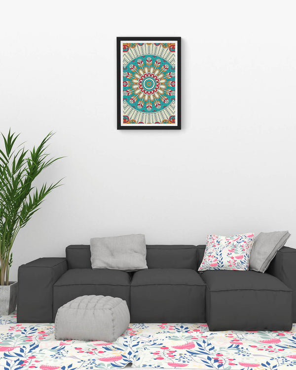 Seamless sky blue pattern with mandala