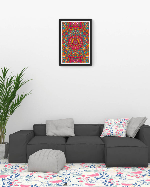 Seamless pink pattern with mandala