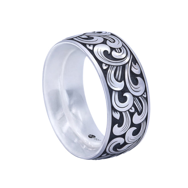 KRANOK Wide Engraved Band Ring