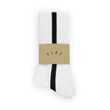 FLAT SOCKS Side Stripe - White