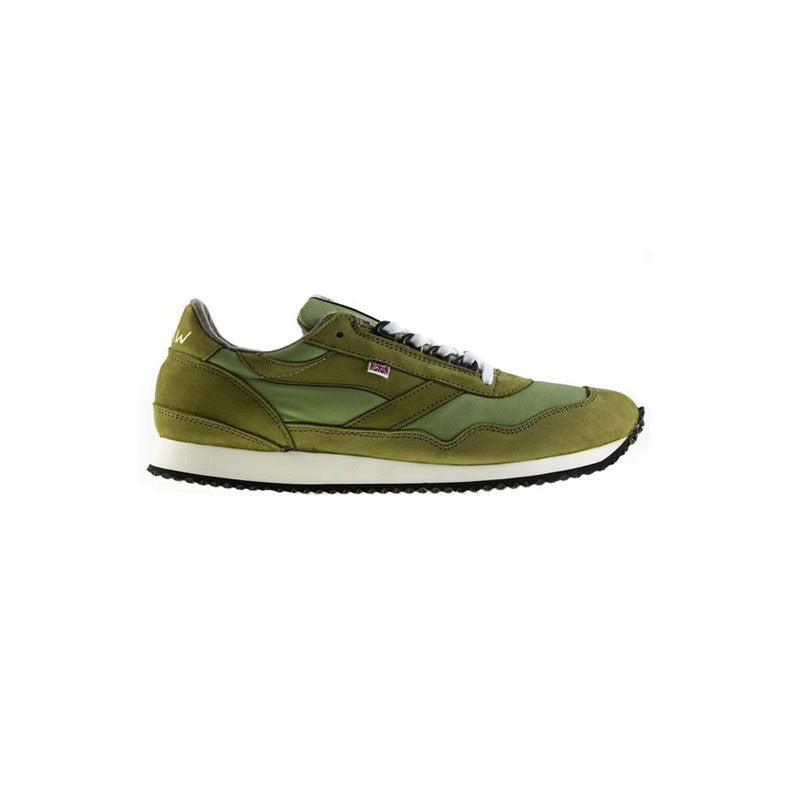 Olive Green Ensign Waxed Cotton, Nubuck Leather and Melton Wool Sneakers Walsh