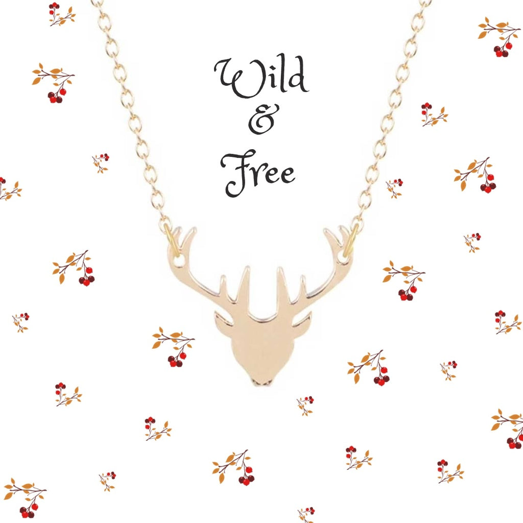 Gold stag pendant necklace at Lottie Of London Jewellery