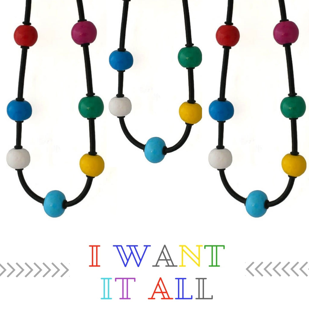 New Multi colour chunky bead necklace at lottie of london jewellery