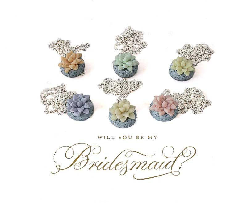 Bridesmaid Succulent Necklaces Wedding Commission at Lottie Of London Jewellery