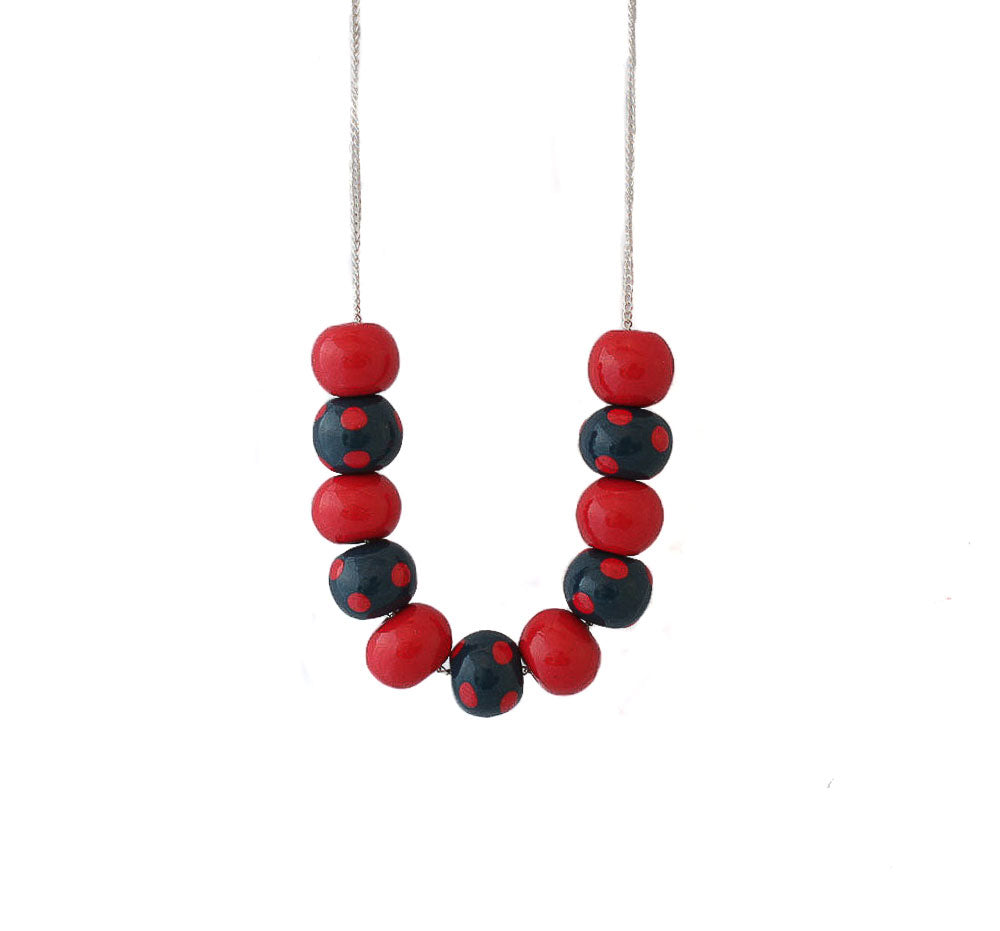 Navy & Red Polka Dot Bead Necklace