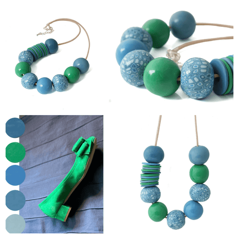 Klimt bead necklace commission   Polymer clay jewellery by Lottie Of London