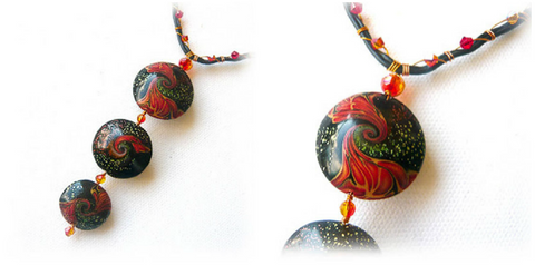 Polymer clay Swirl Bead Necklace