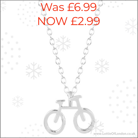 SALE Bicycle Charm Necklace at Lottie Of London Jewellery