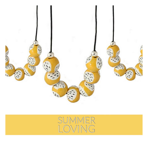 Statement Bead Necklace in Yellow | Lottie Of London Jewelley