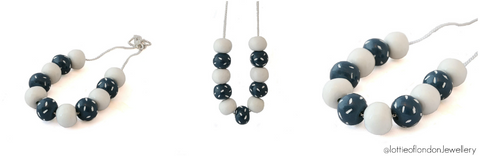 Navy & White Beaded Necklace | Commission at Lottie Of London Jewellery