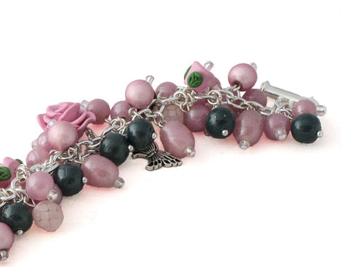 Commission pink & navy blue Floral charm bracelet by Lottie Of London Jewellery