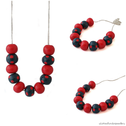 Navy & Red Polka Dot Bead Necklace | Commission at Lottie Of London Jewellery