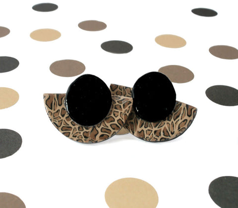 New leopard print geometric stud earrings at Lottie Of London Jewellery