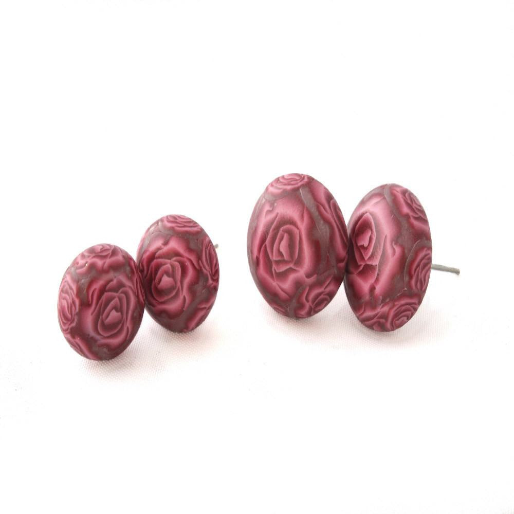 Red Rose Stud Earrings - Lottie Of London Jewellery