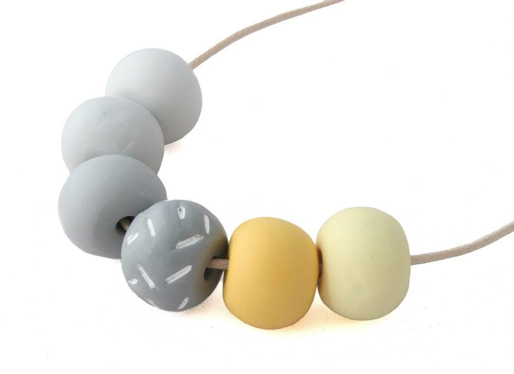 Long Bead Necklace In Grey - Lottie Of London Jewellery