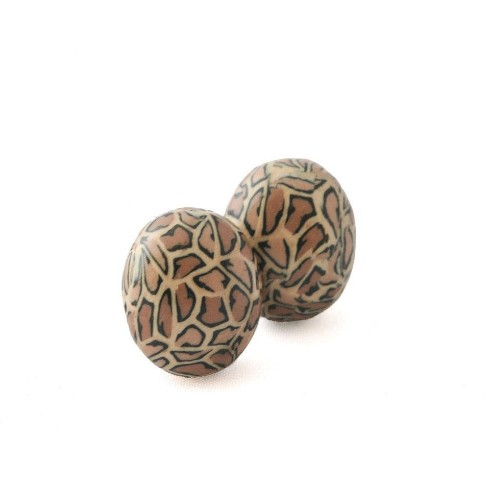 Round Leopard Print Stud Earrings - Lottie Of London Jewellery