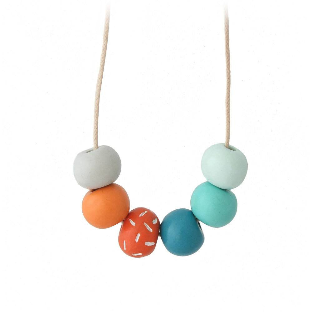 Turquoise & Orange Long Bead Necklace - Lottie Of London Jewellery
