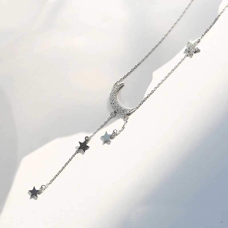 Moon and stars dangle necklace for women