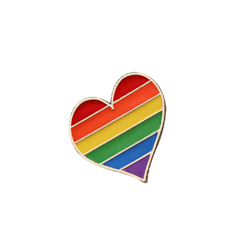 Rainbow Heart Enamel Pin - Lottie Of London Jewellery