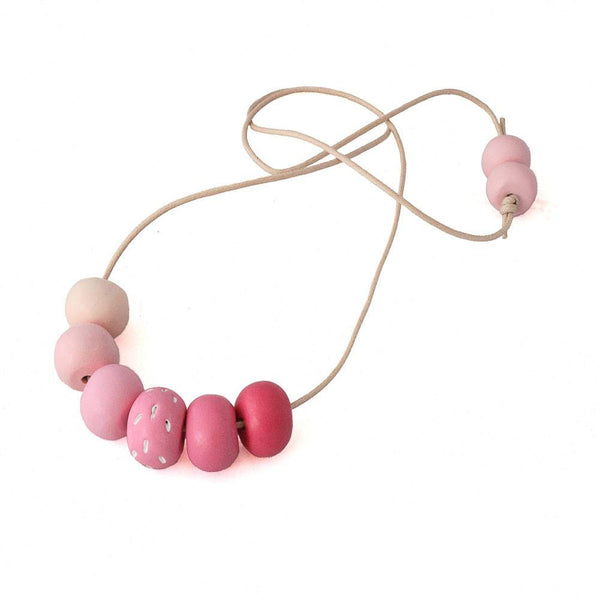 Pink long statement necklace