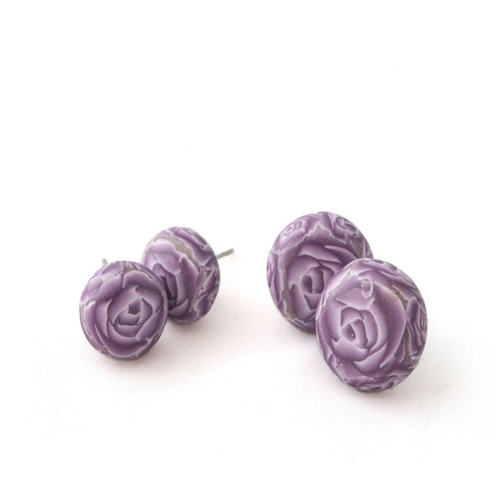 Purple Rose Stud Earrings - Lottie Of London Jewellery