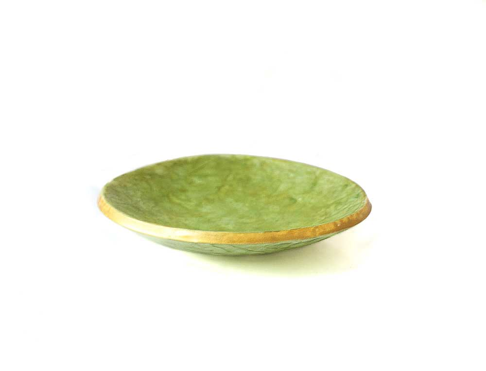 Green trinket ring dish holder for jewellery