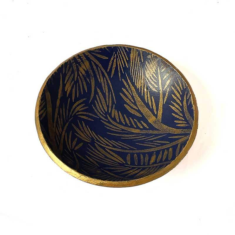 Small Trinket dish or ring holder in navy and gold