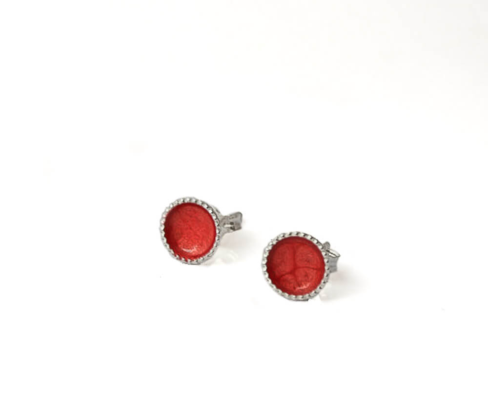 Small Sterling Silver Stud Earrings in Red | 6mm